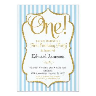 1st Birthday Invitation Boys First Blue Gold