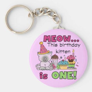 1st Birthday Kitten Tshirts and Gifts Basic Round Button Key Ring