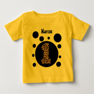 1st Birthday Leopard and Bubbles One Year Old V25A Baby T-Shirt