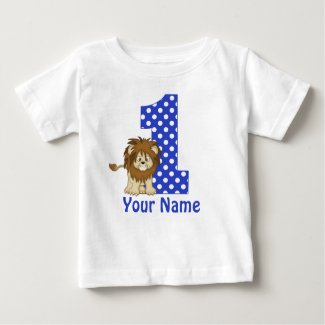 1st Birthday Lion Blue Personalised Shirt