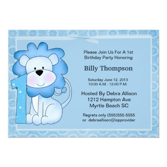 1st Birthday Lion Party Invitation
