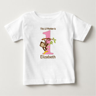 1st Birthday Little Monkey Pink Baby T-Shirt