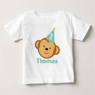 1st Birthday Monkey Boy with Personalized Name Baby T-Shirt