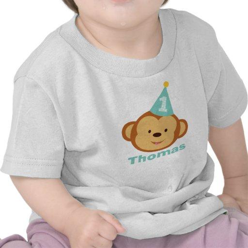 1st Birthday Monkey Boy with Personalized Name Tshirt