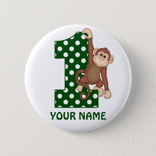 1st Birthday Monkey Green Personalised Button