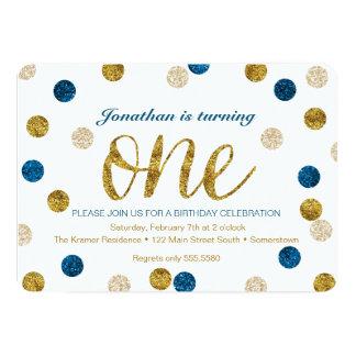 1st Birthday-Navy and Gold Glitter 13 Cm X 18 Cm Invitation Card