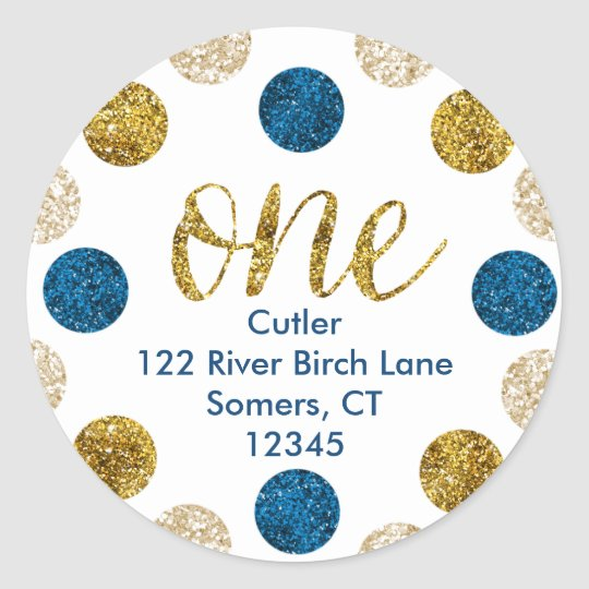 1st Birthday-Navy and Gold Glitter Address Classic Round