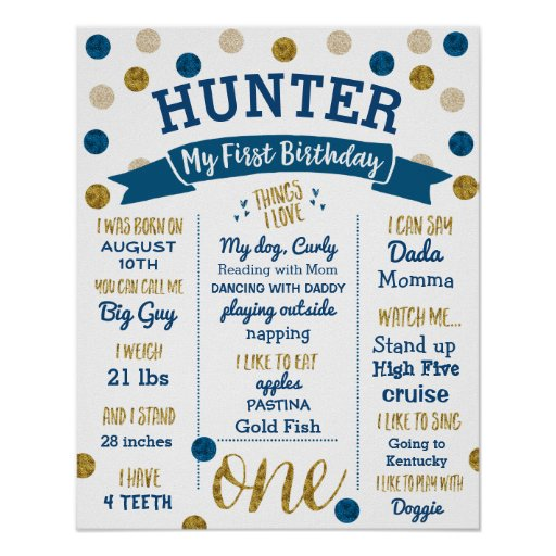 1st Birthday, Navy Blue and Gold Glitter Poster
