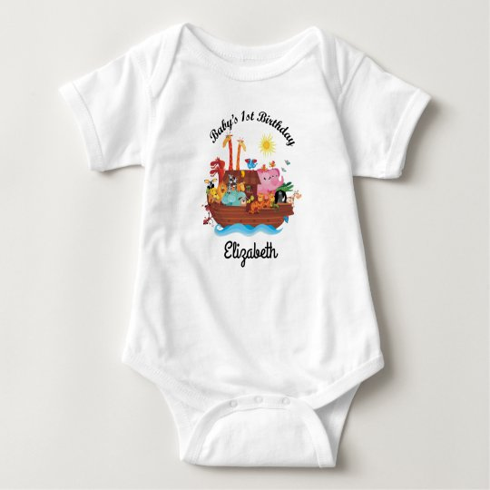 1st Birthday Noah's Ark Personalised Baby T-shirt