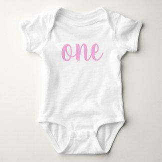 1st Birthday One Baby Bodysuit pink