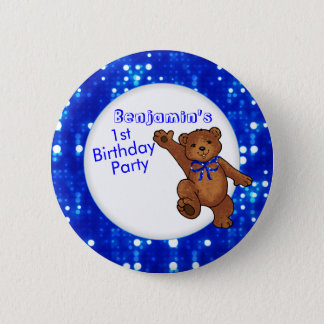 1st Birthday Party Bear Guest 6 Cm Round Badge