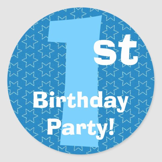 1st Birthday Party Blue Stars B540A Classic Round