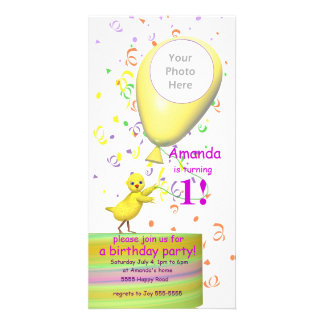 1st Birthday Party Chicken Invite Yellow Balloon Personalized Photo Card