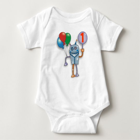 1st Birthday Party Cute Glossy Robot Baby Bodysuit