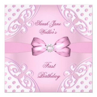 1st Birthday Party Girl Pink White Polka Dot 13 Cm X 13 Cm Square Invitation Card