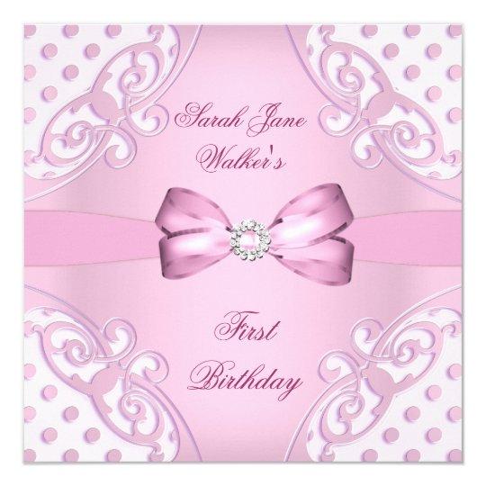 1st Birthday Party Girl Pink White Polka Dot