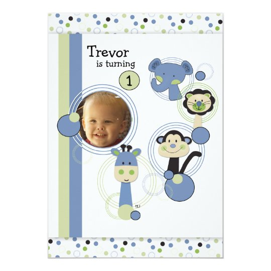 1st Birthday Party Invitation Boy & Safari Animals