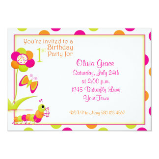 1st Birthday Party Invitation with Butterfly