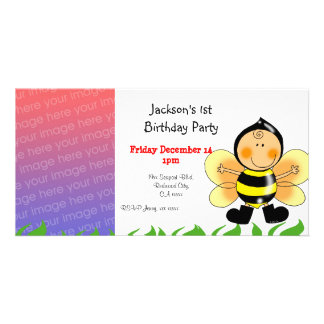 1st birthday party invitations ( bee costume ) photo card template