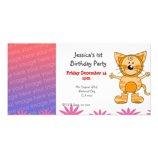 1st birthday party invitations ( cat costume ) customized photo card