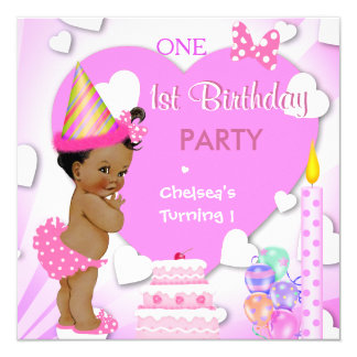 1st Birthday Party Pink Ethnic African American Card