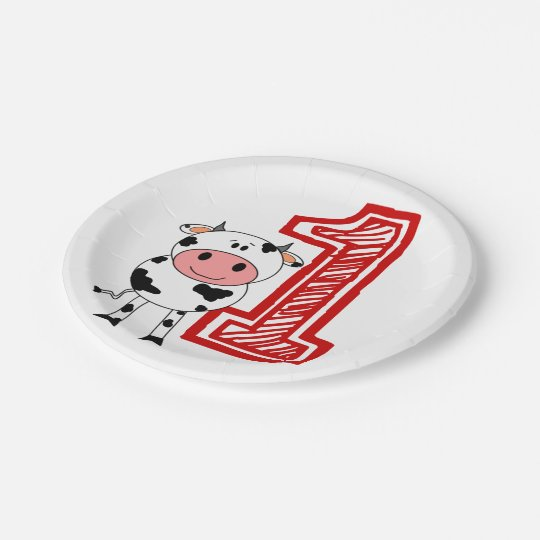 1st Birthday Party Plate - Cow or Farm