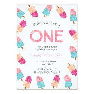1st Birthday Party   Popsicle Ice cream invitation
