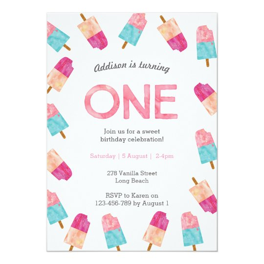 1st Birthday Party | Popsicle Ice cream invitation