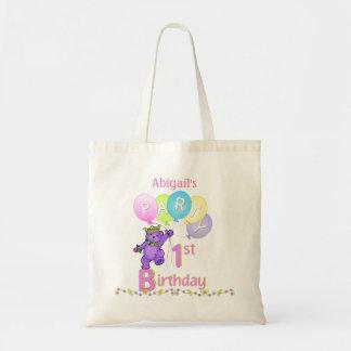 1st Birthday Party Purple Fur Princess Bear Budget Tote Bag
