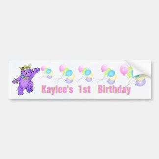 1st Birthday Party Purple Princess Bear Bumper Sticker