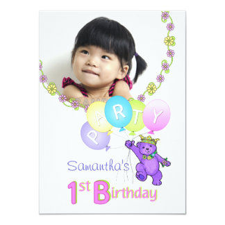 1st Birthday Party Purple Princess Bear with Photo 11 Cm X 16 Cm Invitation Card