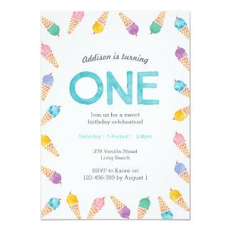 1st Birthday Party   Rainbow Ice cream invitation
