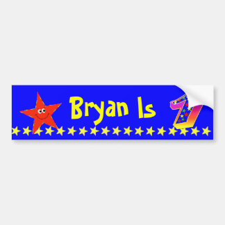1st Birthday Party Red Smiley Star Decoration Bumper Sticker