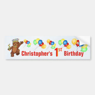 1st Birthday Party Teddy Bear Prince Bumper Sticker