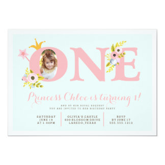 1st Birthday Photo Princess Party Invitation