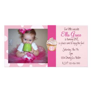 1st Birthday Photocard Invite Photo Card