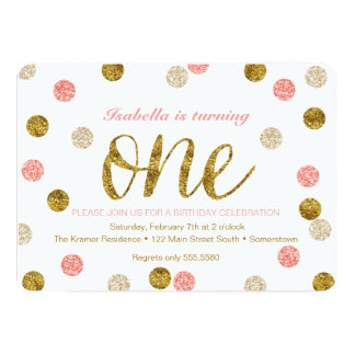 1st Birthday-Pink and Gold Glitter 13 Cm X 18 Cm Invitation Card