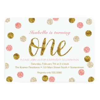 1st Birthday-Pink and Gold Glitter 13 Cm X 18 Cm Invitation Card