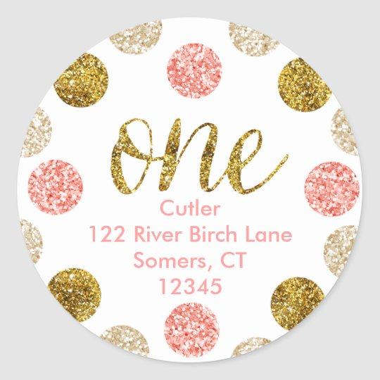 1st Birthday-Pink and Gold Glitter Address Classic Round