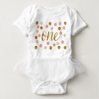 1st Birthday-Pink and Gold Glitter Baby Bodysuit