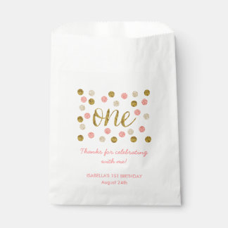 1st Birthday-Pink and Gold Glitter Favour Bags