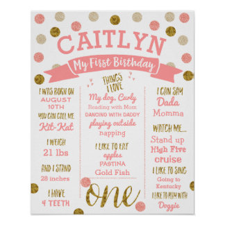 1st Birthday, Pink and Gold Glitter Poster