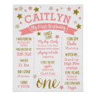 1st Birthday, Pink and Gold Glitter Stars Poster