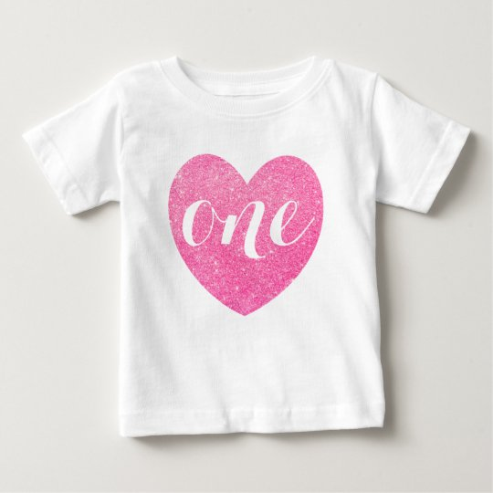 1st Birthday Pink Glitter Heart-Print Personalised Baby T-Shirt