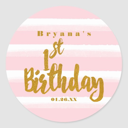 1st Birthday Pink & Gold Foil Watercolor Sticker