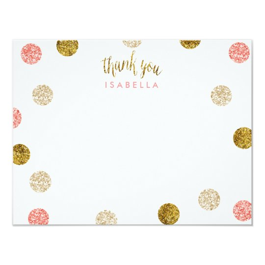 1st Birthday-Pink & Gold Thank you Card