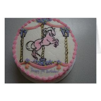 1st Birthday, Pink Merry-Go-Round Greeting Card
