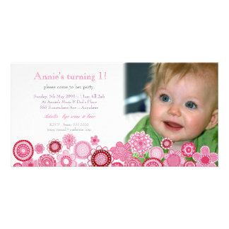 1st Birthday Pink Party Invitation Photo Card