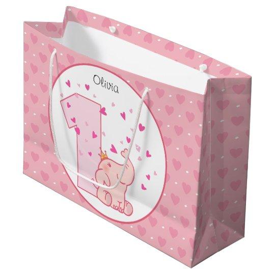 1st Birthday Pink Princess Elephant Party Large Gift Bag