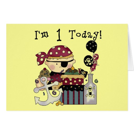 1st Birthday Pirate T-shirts and Gifts Greeting Cards